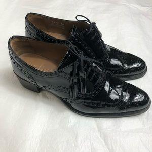 Pertini Black Leather Oxford Shoes Sz 38